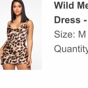 Leopard mini dress/ silk